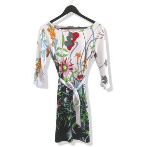 Floral White Slim Fit Shift Tie Waisted Dress